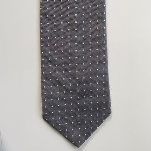Gray White Polka Dot Silk Tie